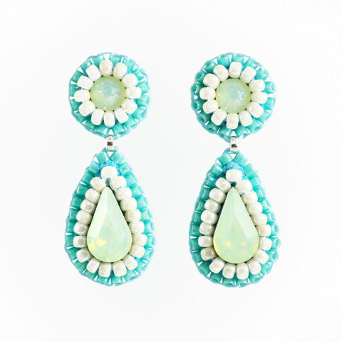 Turquoise, ivory mint earrings