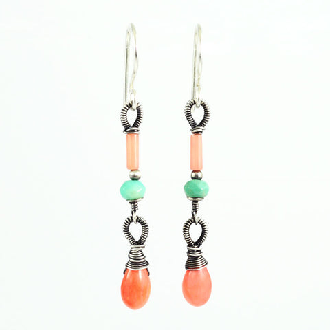 Mint peach coral delicate dangle earrings