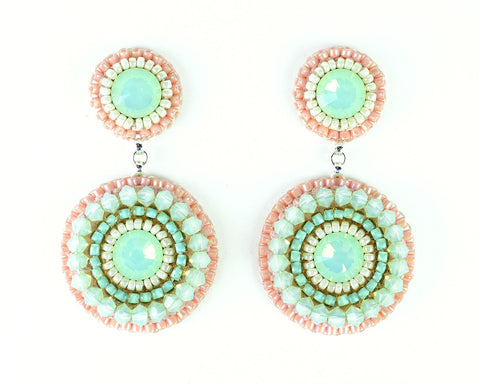Mint peach coral ivory dangle earrings - Exquistry