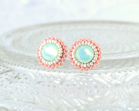Mint peach coral stud earrings - Exquistry - 1