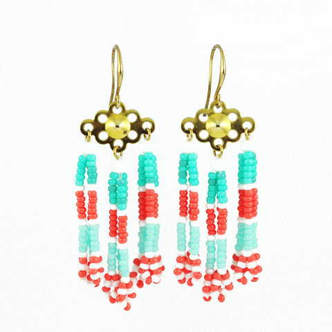 Mint peach tassel earrings | Turquoise coral fringe earrings