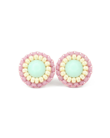 Mint pink stud earrings - Exquistry - 1