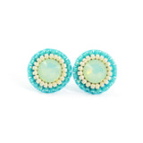 Mint, turquoise, ivory stud earrings - Exquistry - 2