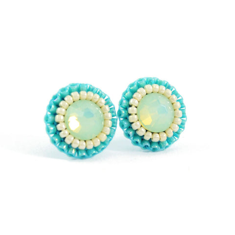 Mint, turquoise, ivory stud earrings - Exquistry - 1