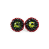 Olive, black, red stud earrings - Exquistry - 2