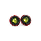 Olive, black, red stud earrings - Exquistry - 1