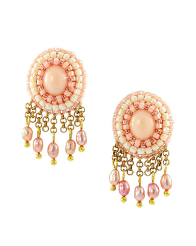 Coral pink ivory gold dangle earrings - Exquistry