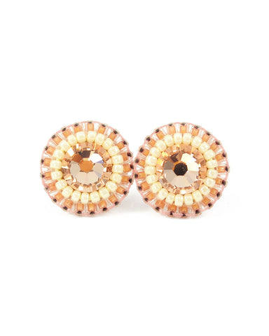 Peach ivory stud earrings - Exquistry - 1