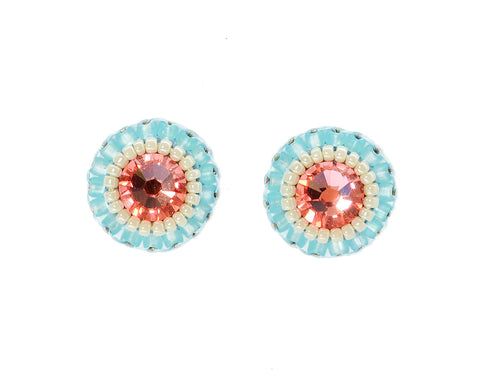 Peach pink light blue stud earrings - Exquistry