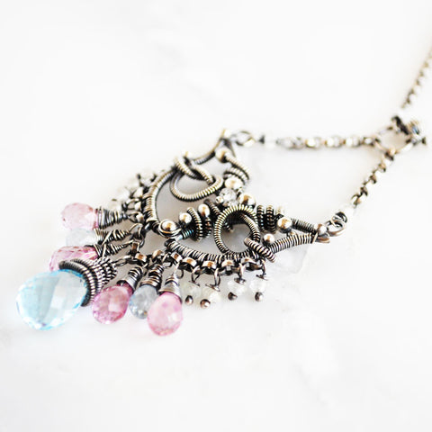 Pink and blue topaz, silver statement necklace