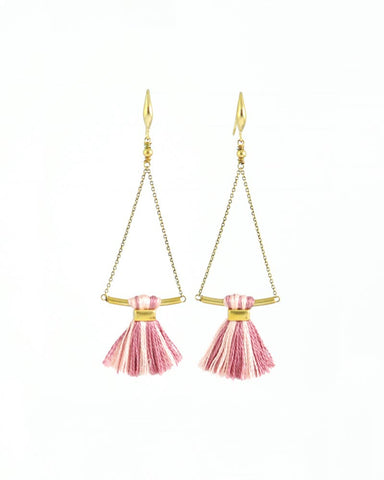 Blush pink earrings | tassel earrings | gold brass earrings