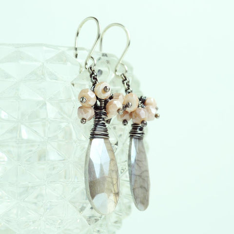 Gray quartz, pink opal cluster earrings | Silver dangles