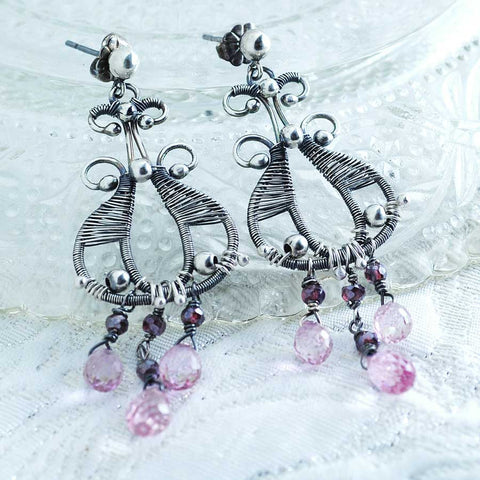 Pink topaz earrings | unique silver dangles | gift for her