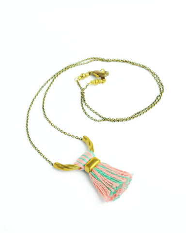 Pink teal tassel necklace | brass delicate necklace
