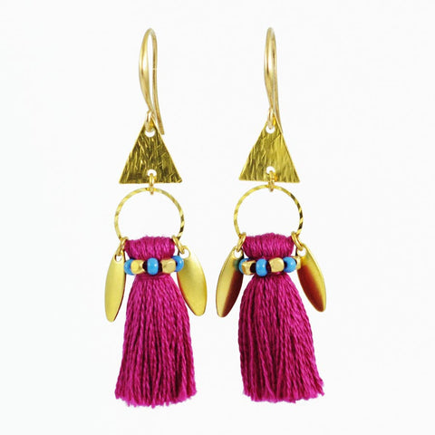 Plum earrings | tassel earrings | gold brass earrings