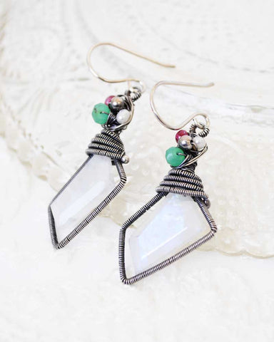Rainbow moonstone earrings | Silver drop earrings with ruby, pearl, green onyx