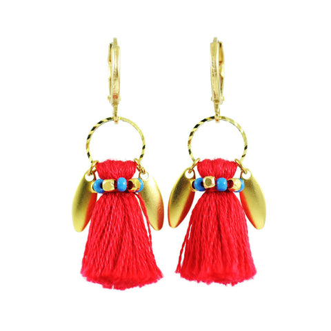 Red gold tassel earrings | tribal earrings | bohemian earrings