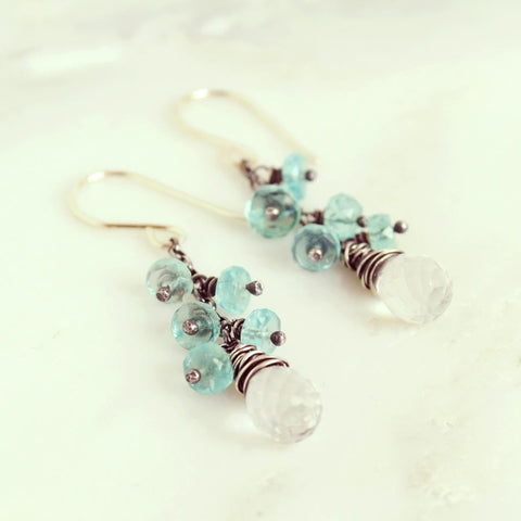 Rock crystal and aquamarine earrings | Silver dangle earrings