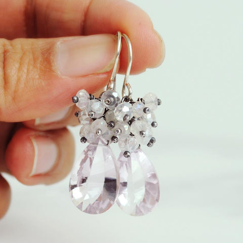 Pink amethyst earrings | Rock crystal earrings | Silver dangles