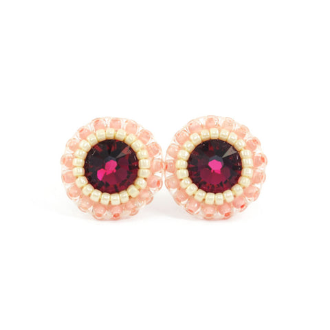 Ruby red, blush, ivory stud earrings - Exquistry - 1