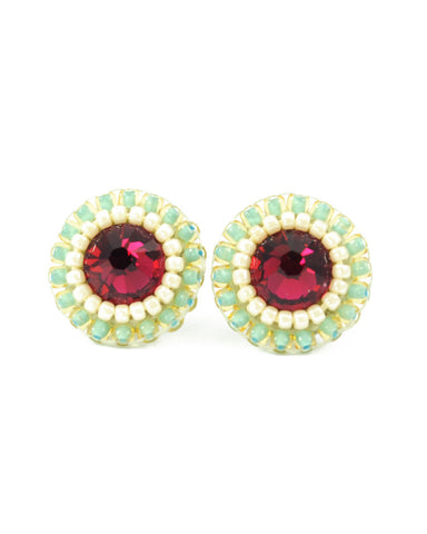 Ruby pink mint stud earrings - Exquistry - 1