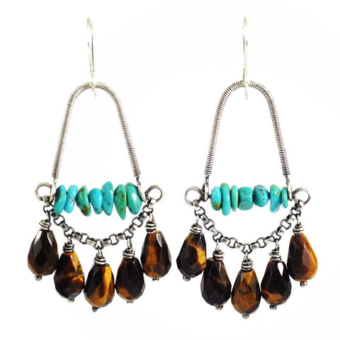 Turquoise earrings | brown earrings | silver statement earrings