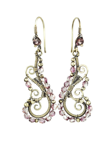 Silver dangle earrings with pink crystals - Exquistry