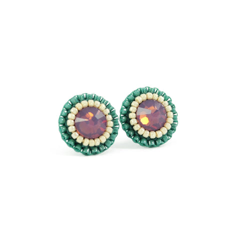 Lavender, teal,  ivory stud earrings - Exquistry - 1