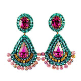 Emerald fuchsia gold dangle earrings - Exquistry - 1