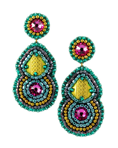 Teal fuchsia statement dangle earrings - Exquistry - 1