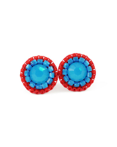 Turquoise and red stud earrings - amisha rathod - 1