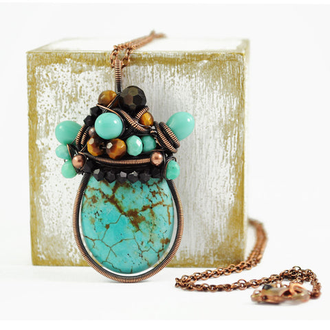 Turquoise, black, copper necklace - Exquistry - 1