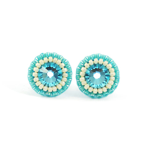Turquoise, aqua, ivory stud earrings - Exquistry - 1