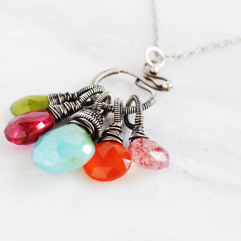 Silver mint green pink orange gemstones necklace - Exquistry - 1