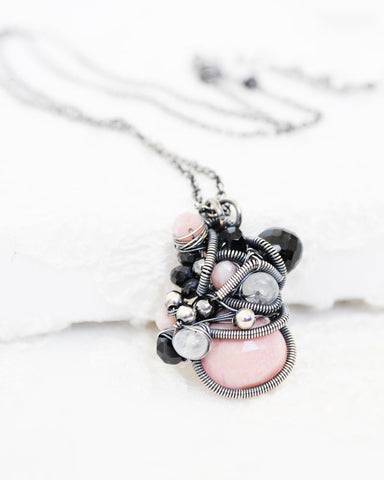 Pink gemstone necklace | Exquisite silver wire necklace