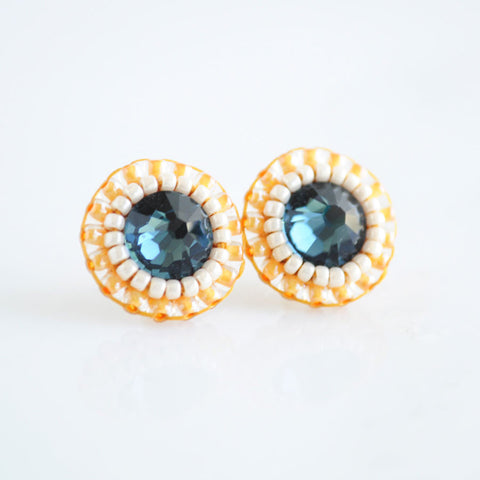 Blue yellow stud earrings | unique crystal earrings
