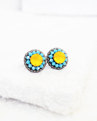 Yellow swarovski statement stud earrings | Turquoise beaded earrings