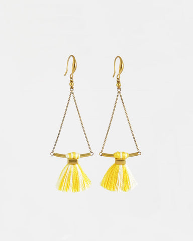 Yellow cream earrings | tassel earrings | gold brass earrings