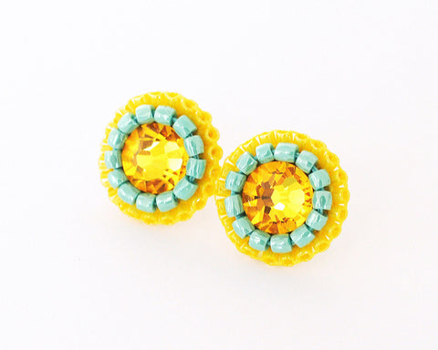 Yellow turquoise stud earrings - Exquistry - 1