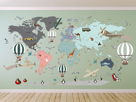 Map Of The World Clear.Airplane World Map Decal Clear Vinyl Decal Boys Room Decals World Map Mural Hot Air Balloon World Map Custom Name Map Animal World Map