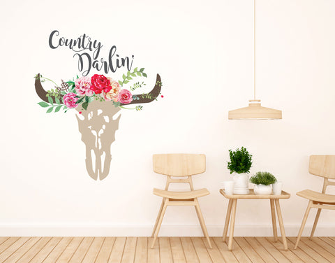 Boho Wall Decals Country Darlin Wall Decal Boho Floral Cow Skull Wall Decal Clear Vinyl Decal Bohemian Vintage Sticker Watercolor Rustic