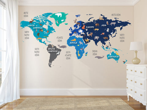 Colorful Animal World Map Decal - Clear Vinyl Decal - Kids Room Decals -  World Map Mural - World Animals - Nursery Decals - Christmas Gift