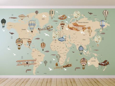 Avitation World Map Decal Airplane Map Wall Decal Clear Vinyl Decal Walls2lifedecals