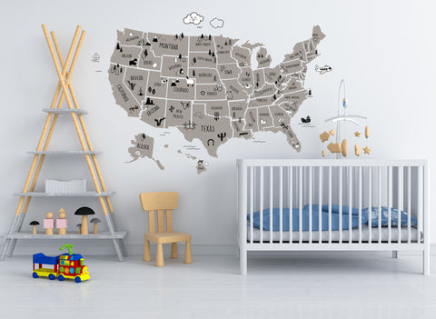 Side by Side or Far Apart States Vinyl Wall Decal