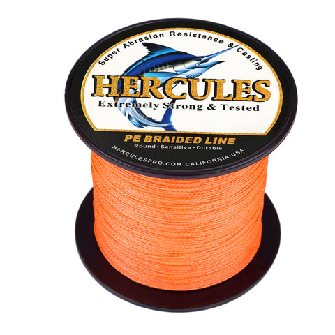 100M 109Yds Orange 6lb-100lb Hercules PE Braided Fishing Line 4 Strands