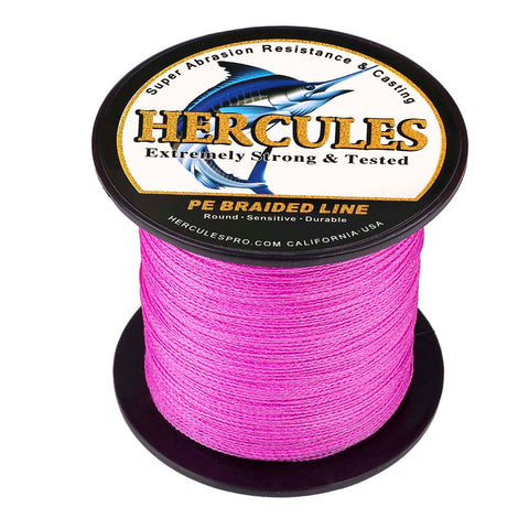 100M 109Yds Pink 6lb-100lb Hercules PE Braid Fishing Line 4 Strands