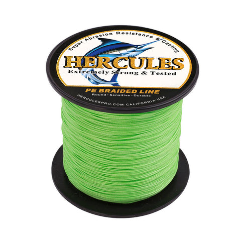 100M 109Yds Fluorescent Green 10lb-300lb Hercules PE Braided Fishing Line 8 Strands