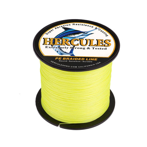 300M 328Yds Fluorescent Yellow 10lb-300lb Hercules PE Braided Fishing Line 8 Strands