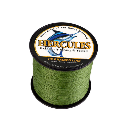 300M 328Yds Army Green 6lb-100lb Hercules PE Braid Fishing Line 4 Strands