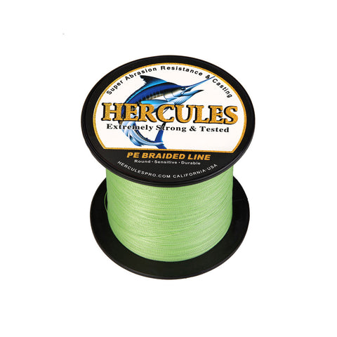 300M 328Yds Fluorescent Green 6lb-100lb Hercules PE Braided Fishing Line 4 Strands